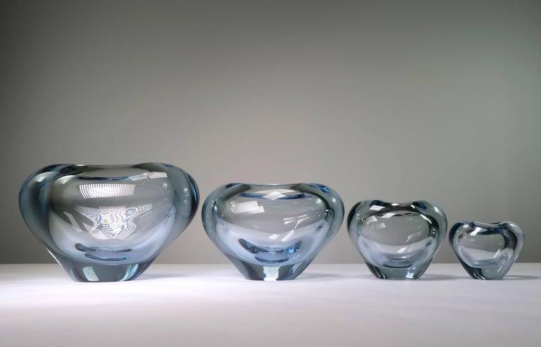 Set of Holmegaard Danish Modern Heart Shaped Light Blue Art Glass Vases, 1961 For Sale 2