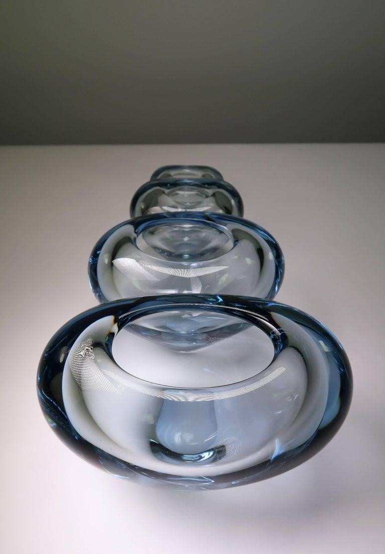 Set of Holmegaard Danish Modern Heart Shaped Light Blue Art Glass Vases, 1961 For Sale 3