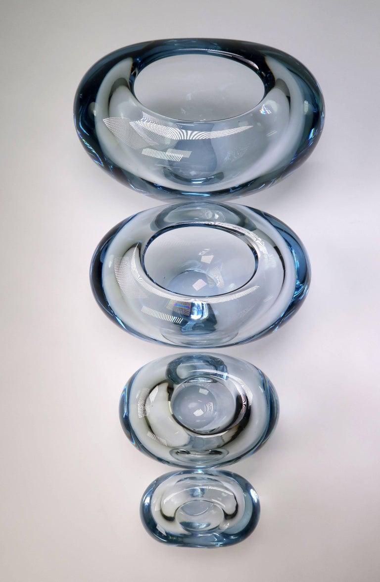Set of Holmegaard Danish Modern Heart Shaped Light Blue Art Glass Vases, 1961 For Sale 4