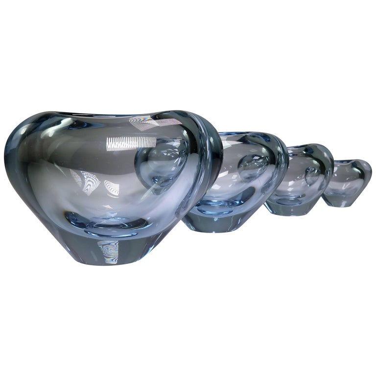 Set of Holmegaard Danish Modern Heart Shaped Light Blue Art Glass Vases, 1961 For Sale