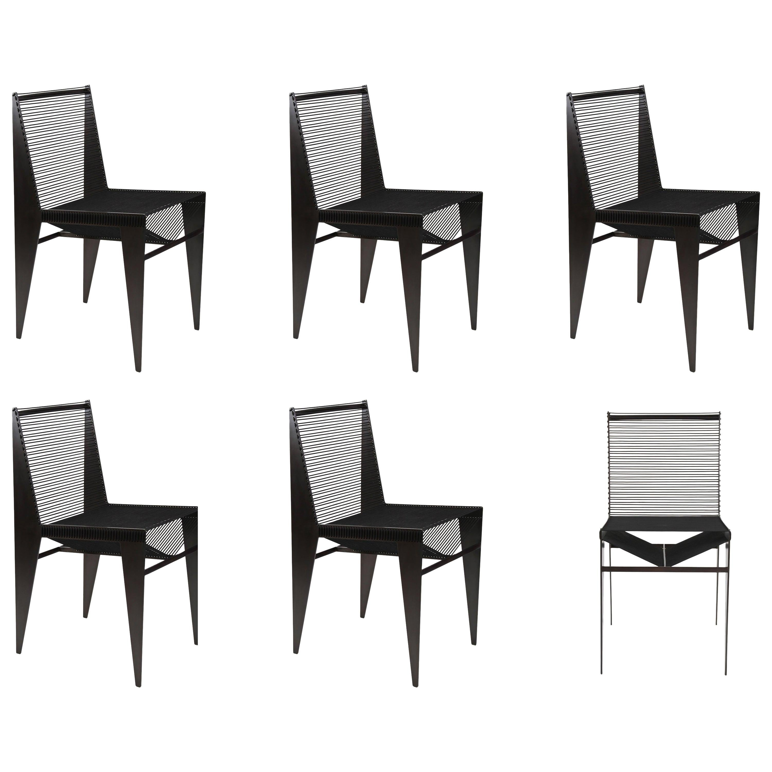 Set of 6 - ICON Chairs, 2020, powder coated steel & rope by Christopher Kreiling
