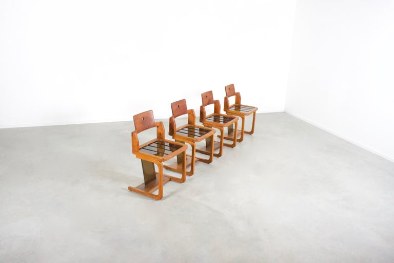 Rustic Set of Impressive French Teak Wood and Lucite Chairs, 1960s For Sale