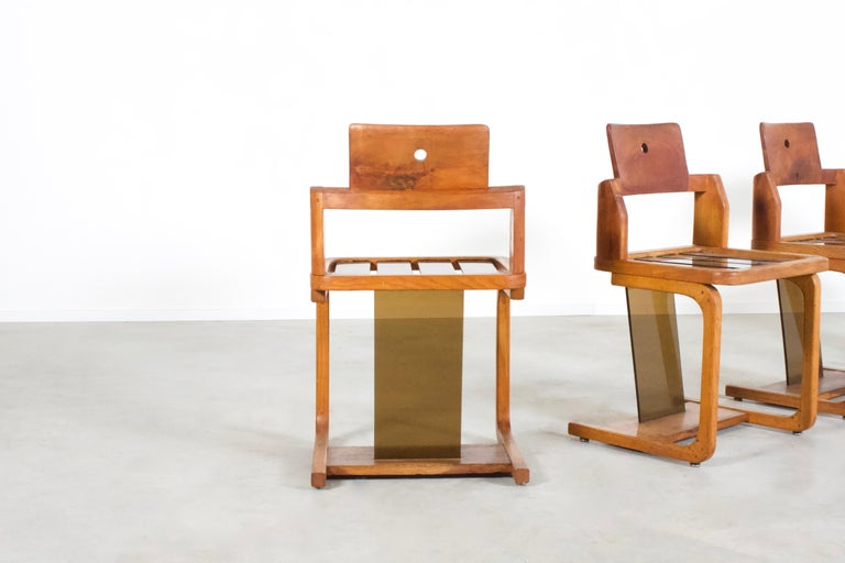 20th Century Set of Impressive French Teak Wood and Lucite Chairs, 1960s For Sale