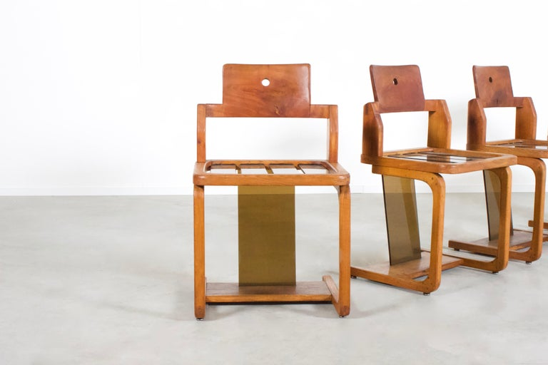 Plastic Set of Impressive French Teak Wood and Lucite Chairs, 1960s For Sale