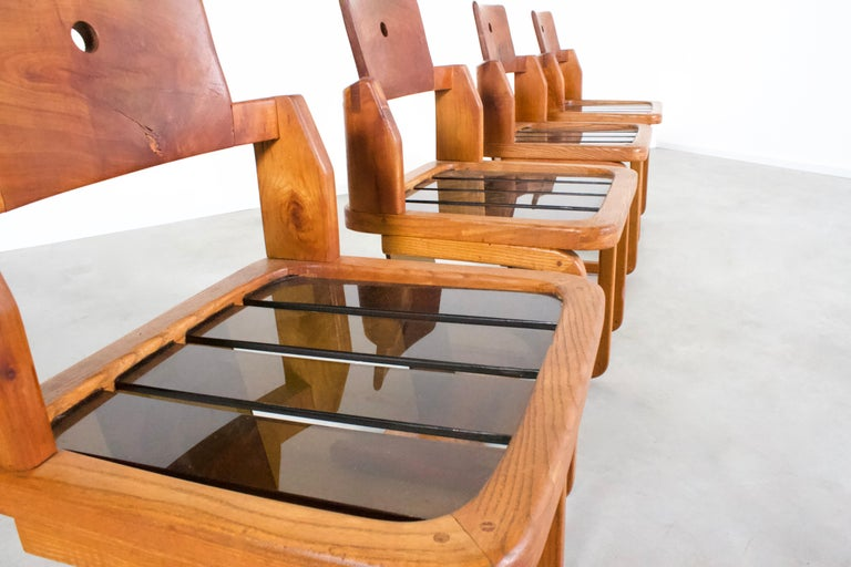 Set of Impressive French Teak Wood and Lucite Chairs, 1960s For Sale 1