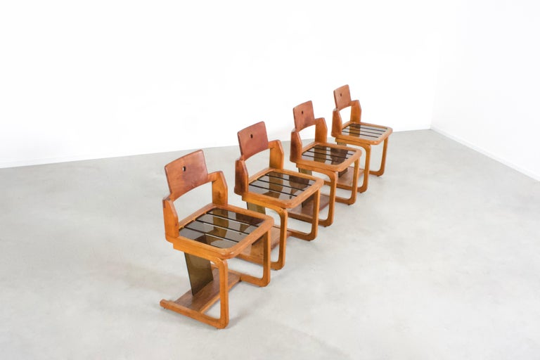 Set of Impressive French Teak Wood and Lucite Chairs, 1960s For Sale 2