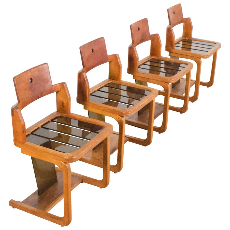 Set of Impressive French Teak Wood and Lucite Chairs, 1960s For Sale