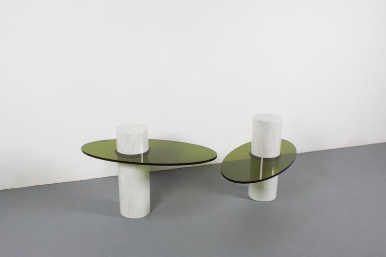 20th Century Set of Impressive Italian Lucite and Marble Tables, 1970s For Sale