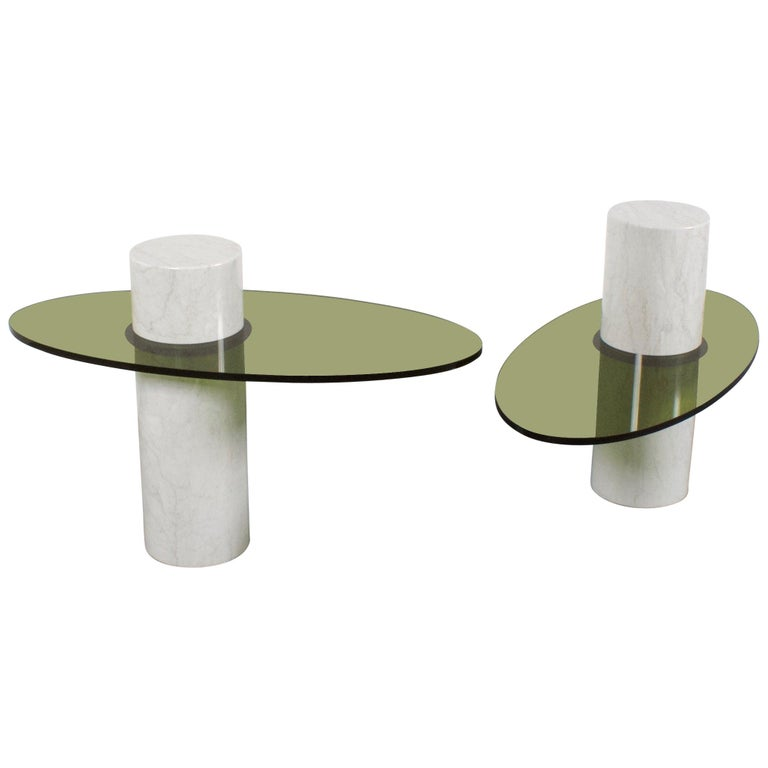 Set of Impressive Italian Lucite and Marble Tables, 1970s For Sale