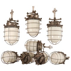 Industrial Milk Glass and Steel Caged Ship's Galley Lights