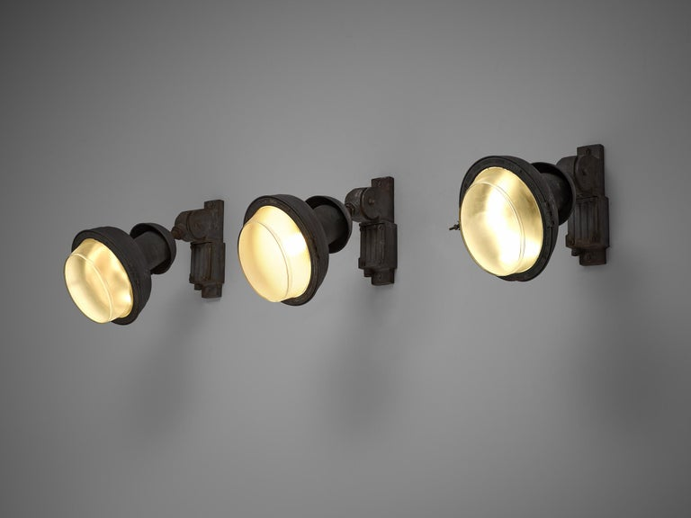 Set of industrial wall lamps, Europe, 1950s.