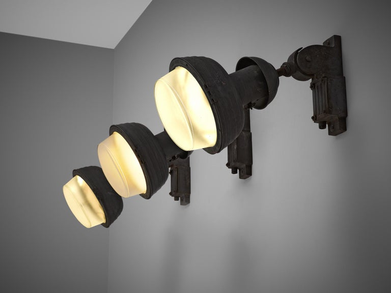 Mid-Century Modern Set of Industrial Wall Lamps For Sale