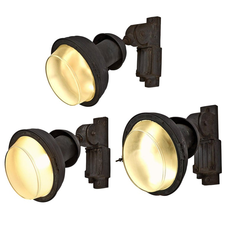 Set of Industrial Wall Lamps For Sale