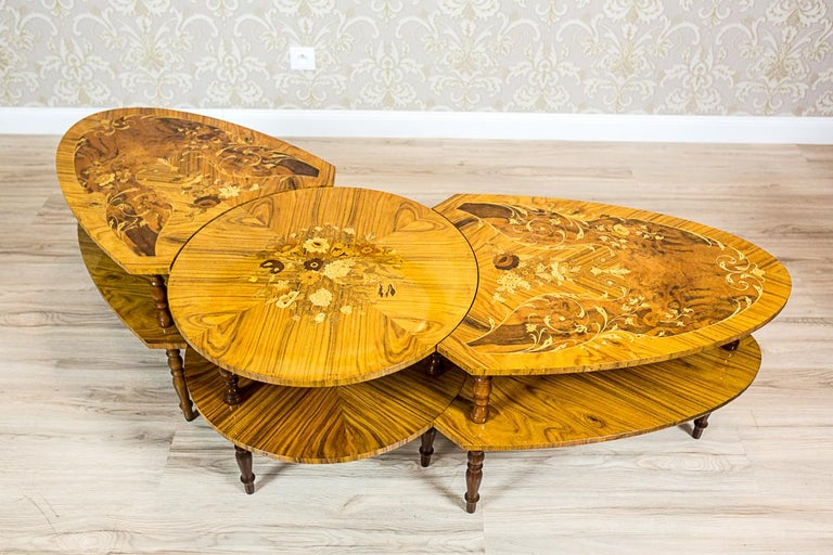Set of Intarsiated Tables from the 1970s For Sale 1