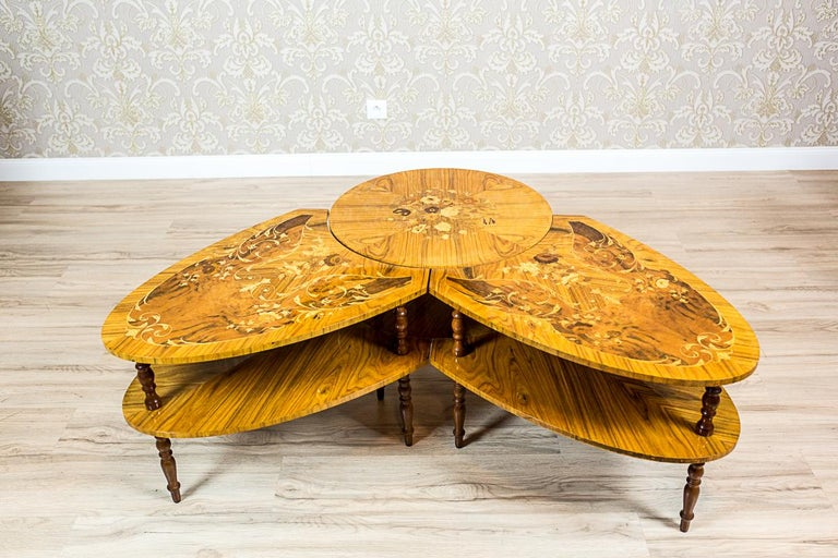 Set of Intarsiated Tables from the 1970s For Sale 4