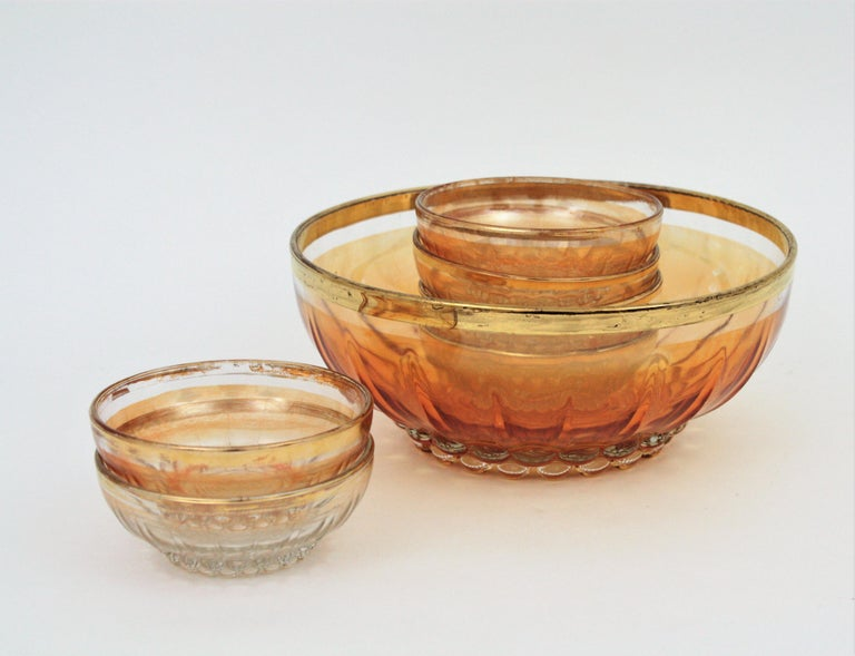 Spanish Set of Iridiscent Amber and Clear Pattern Pressed Glass Gold Rim Bowls For Sale