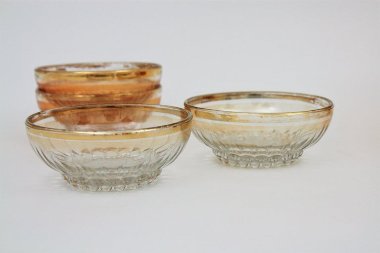Set of Iridiscent Amber and Clear Pattern Pressed Glass Gold Rim Bowls For Sale 3