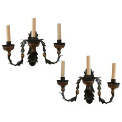 Set of Iron and Tole Sconces, Sold Per Pair