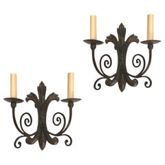 Set of Iron Foliage Motif Sconces