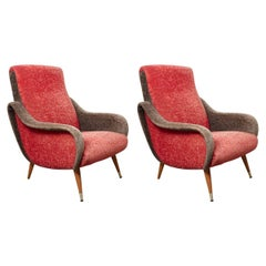 Set of Italian 1950s Red and Grey Ladies Lounge Chairs
