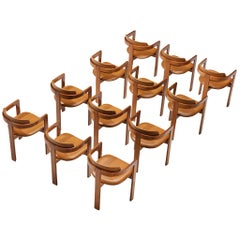 Set of Italian Armchairs with Architectural Bentwood Frames