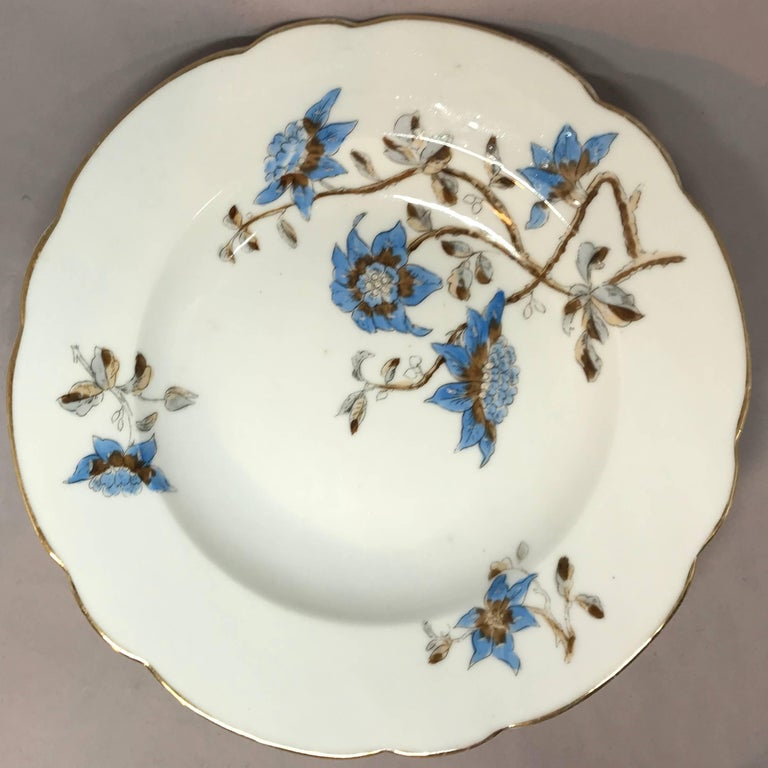 19th Century Set of Five Italian Blue and White Floral Plates For Sale