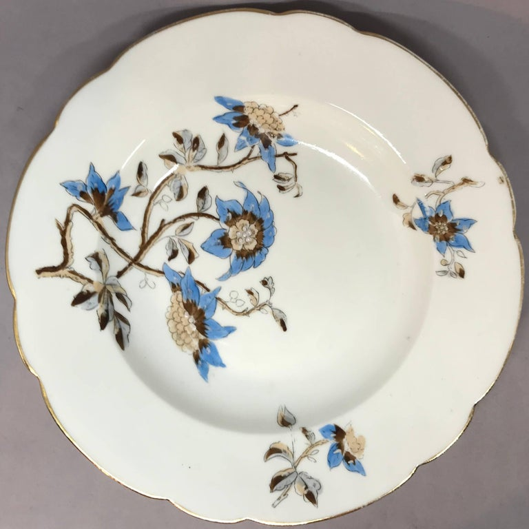 Set of Five Italian Blue and White Floral Plates For Sale 1