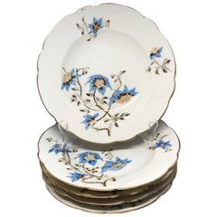 Set of Five Italian Blue and White Floral Plates