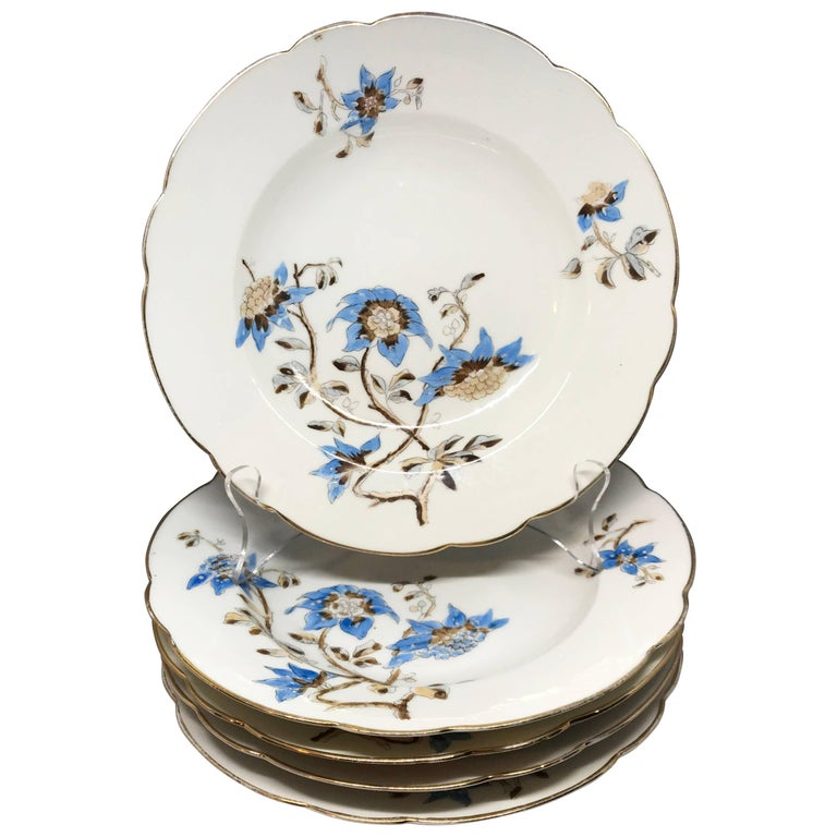 Set of Five Italian Blue and White Floral Plates For Sale
