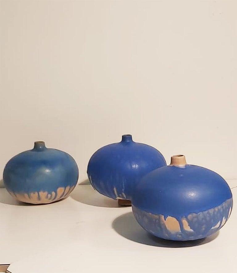 Set of Italian Blue Ceramic Vase by Ceramist Caruso Manufacture Vietri Sul Mare For Sale 5