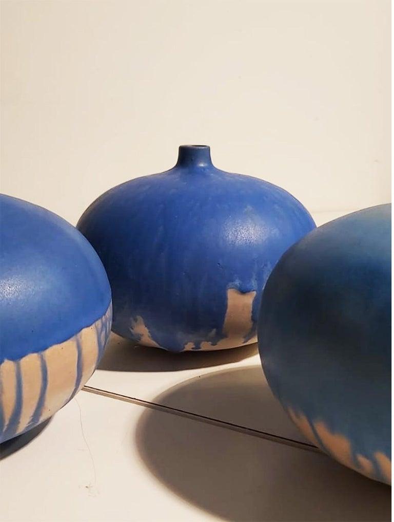 Modern Set of Italian Blue Ceramic Vase by Ceramist Caruso Manufacture Vietri Sul Mare For Sale