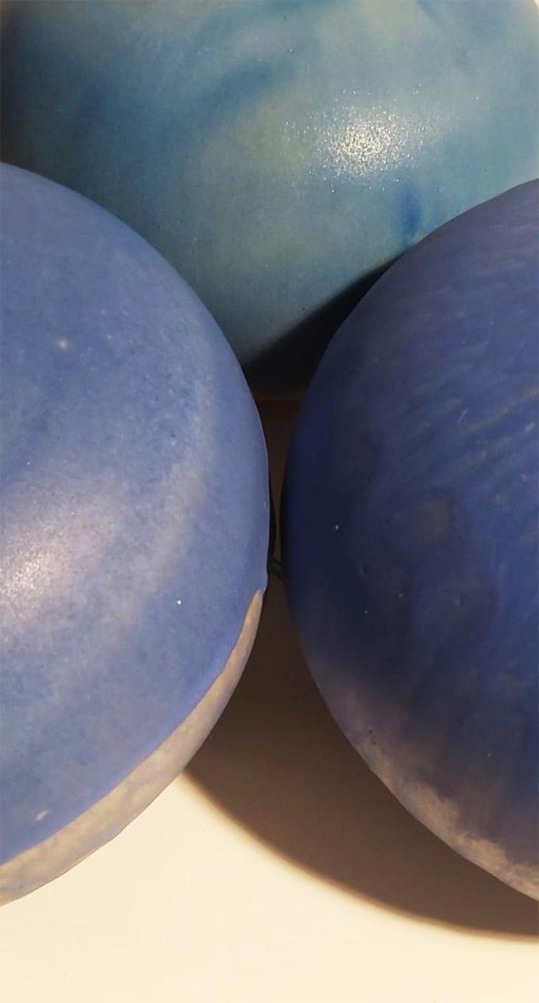 Set of Italian Blue Ceramic Vase by Ceramist Caruso Manufacture Vietri Sul Mare In Excellent Condition For Sale In Milano, IT