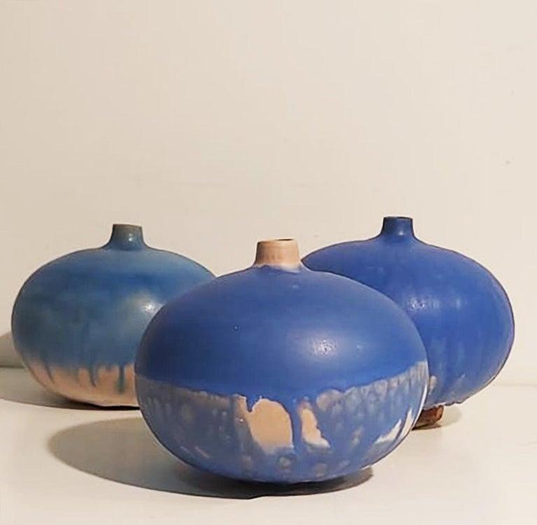 Contemporary Set of Italian Blue Ceramic Vase by Ceramist Caruso Manufacture Vietri Sul Mare For Sale