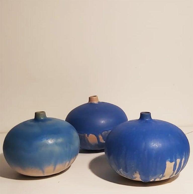 Set of Italian Blue Ceramic Vase by Ceramist Caruso Manufacture Vietri Sul Mare For Sale 1