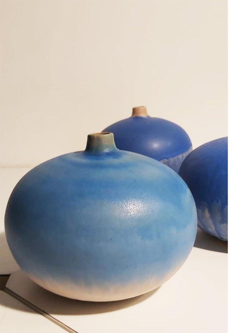 Set of Italian Blue Ceramic Vase by Ceramist Caruso Manufacture Vietri Sul Mare For Sale 2