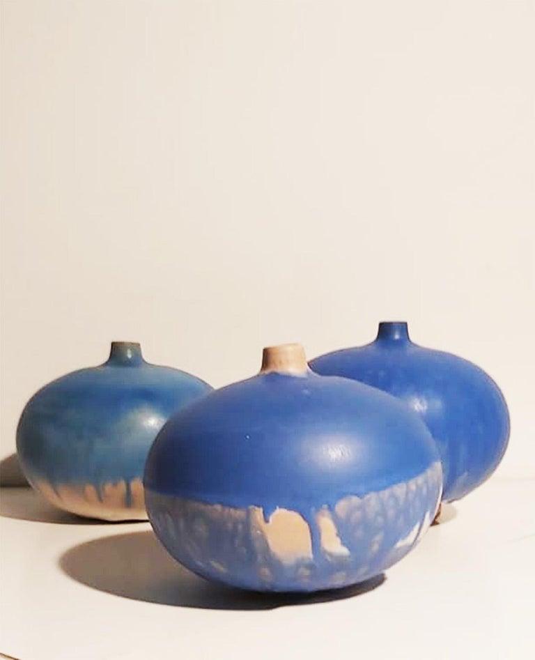 Set of Italian Blue Ceramic Vase by Ceramist Caruso Manufacture Vietri Sul Mare For Sale 4
