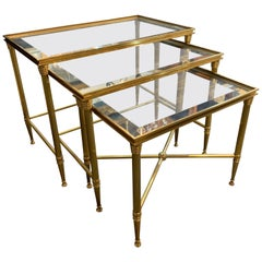 Set of Italian Brass Midcentury Nesting Tables