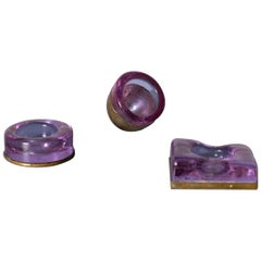 Set of Italian Candleholder Midcentury in Brass and Purple Amethyst Stone, 1950s