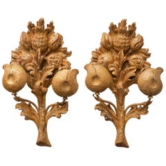 19th C. Set of Italian Carved Gilt Wood Wall Appliques with Flowers and Fruit