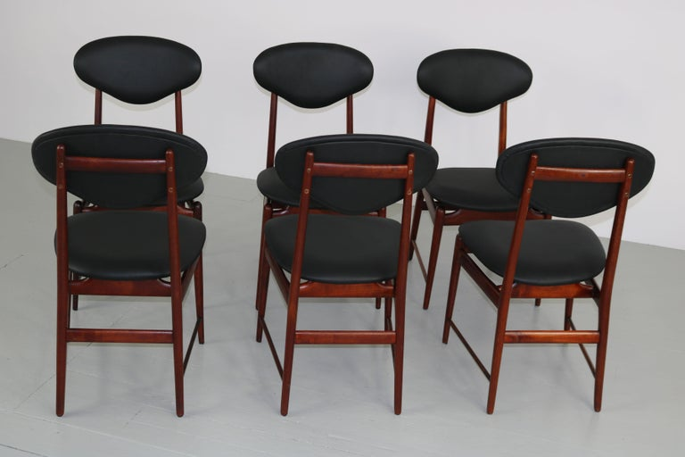 Set of Italian Dark Teak Wood Dining Table and 6 Chairs, 1950s For Sale 13