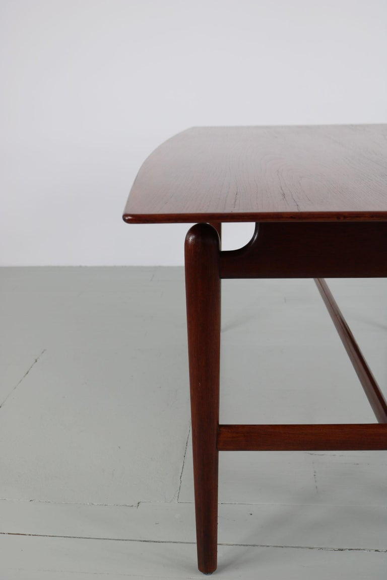 Set of Italian Dark Teak Wood Dining Table and 6 Chairs, 1950s For Sale 15