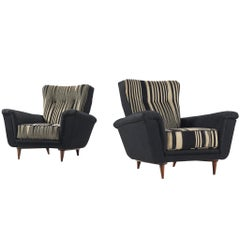 Set of Italian Lounge Chairs in Striped Upholstery, 1950s