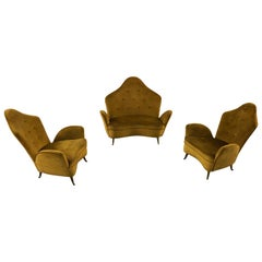 Set of Italian Midcentury Sofa and Armchairs by Isa Bergamo, 1950s