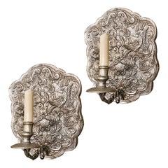 Set of Italian Repoussé Silver Plated Sconces, Sold Per Pair