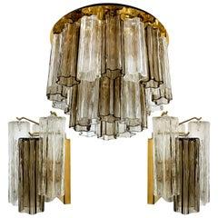 Set of J. T. Kalmar Murano Glass Light Fixtures, Austria, 1960