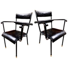 Set of Jacques Adnet Leather Armchairs
