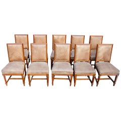 Set of Jansen Louis XVI Style Wood Side Dining Chairs