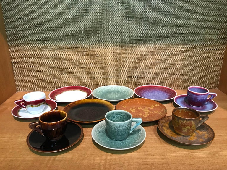 Set of Japanese Contemporary Hand-Glazed Ceramic Demitasse Cups, Saucers, Plates In New Condition For Sale In Vancouver, CA