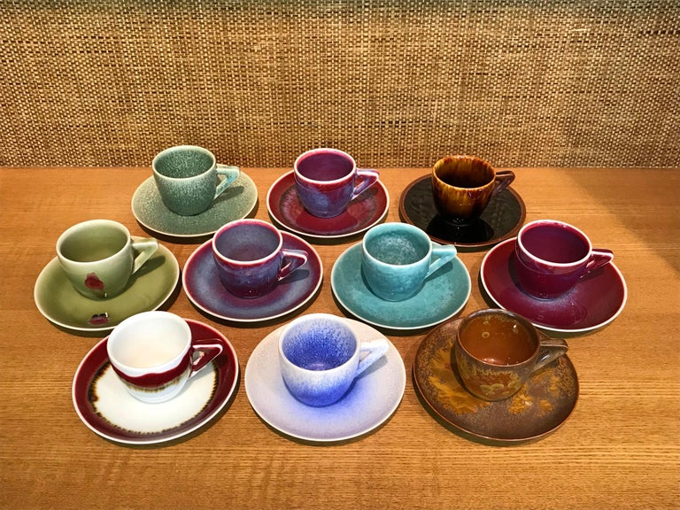 Set of Japanese Contemporary Hand-Glazed Ceramic Demitasse Cups, Saucers, Plates For Sale 1