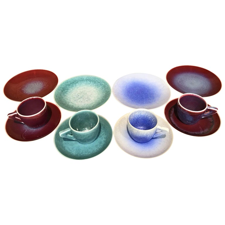 Set of Japanese Contemporary Hand-Glazed Ceramic Demitasse Cups, Saucers, Plates For Sale